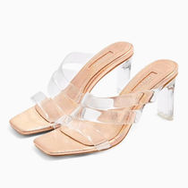 TOPSHOP Square Toe Casual Style Plain Block Heels Party Style