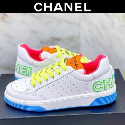 CHANEL Lace-up Casual Style Plain Leather Neon Color