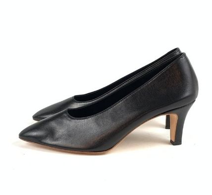 Casual Style Plain Leather Block Heels Office Style Logo
