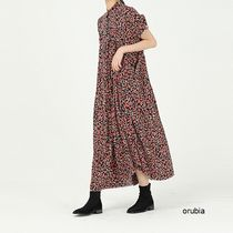 Crew Neck Flower Patterns Casual Style Maxi A-line Chiffon