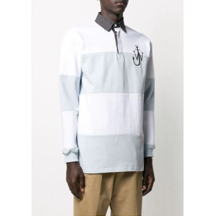 Pullovers Stripes Long Sleeves Cotton Logo Designers Polos