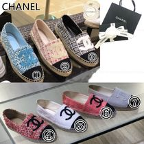 CHANEL Round Toe Casual Style Logo Flats