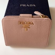 PRADA Plain Leather Folding Wallet Small Wallet Folding Wallets
