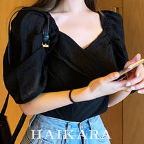 Short Casual Style Plain Short Sleeves Puff Sleeves Cropped