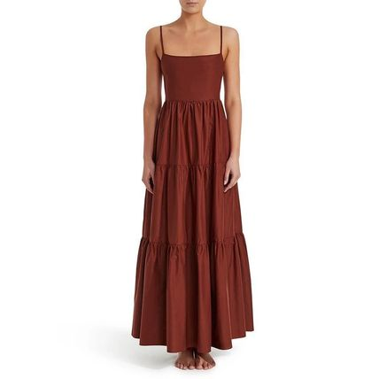 Maxi Sleeveless Plain Cotton Long Midi Tired Dresses