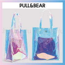 PULL & BEAR Nylon Street Style A4 Plain Crystal Clear Bags PVC Clothing