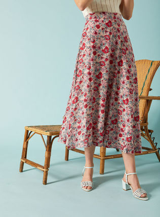 Flared Skirts Flower Patterns Maxi Long Office Style