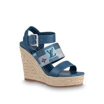 Louis Vuitton Open Toe Logo Platform & Wedge Sandals
