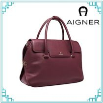 AIGNER Casual Style A4 Plain Leather Office Style Elegant Style