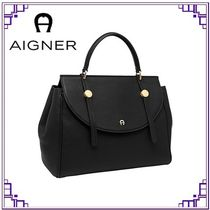 AIGNER Casual Style Plain Leather Office Style Elegant Style