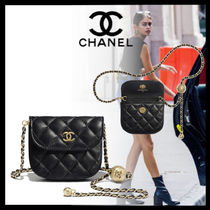 CHANEL Casual Style Lambskin Chain Leather Party Style