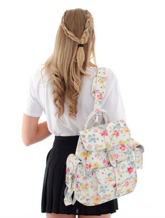 Flower Patterns Casual Style 2WAY Leather Backpacks