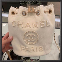 CHANEL DEAUVILLE Casual Style Calfskin Canvas Blended Fabrics 2WAY Chain