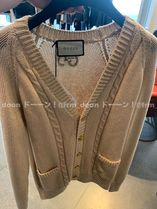 GUCCI Cable Knit Long Sleeves Plain Cotton Logo Sweaters