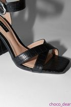 TOPSHOP Open Toe Casual Style Faux Fur Block Heels Party Style