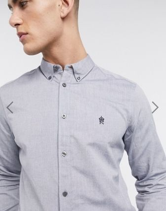 Long Sleeves Plain Cotton Logo Front Button Shirts