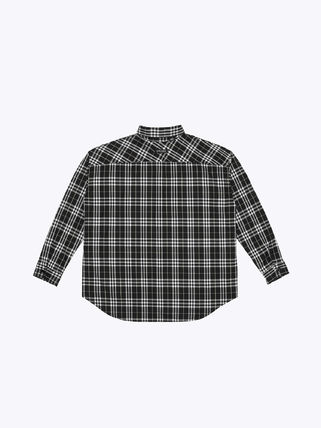 Button-down Gingham Unisex Street Style Long Sleeves Cotton