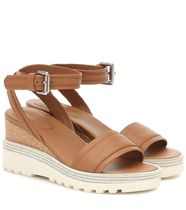 See by Chloe Open Toe Platform Round Toe Rubber Sole Casual Style Plain