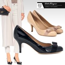 Salvatore Ferragamo Round Toe Casual Style Leather Pin Heels Party Style