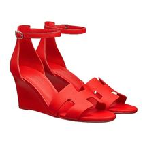 HERMES Open Toe Leather Party Style Elegant Style Shoes