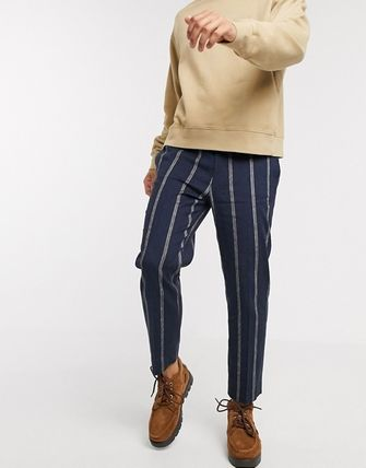 ASOS Tapered Pants Stripes Linen Street Style Cotton