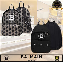 BALMAIN Casual Style Unisex Plain Logo Backpacks