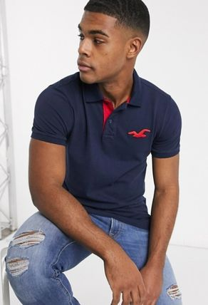 Pullovers Street Style Plain Cotton Short Sleeves Polos