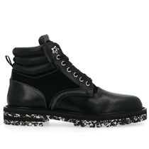 Jimmy Choo Plain Toe Mountain Boots Studded Plain Leather Logo