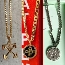 Off-White Unisex Street Style Chain Metal Logo Necklaces & Chokers