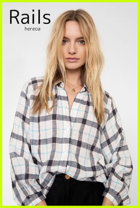 Other Plaid Patterns Casual Style Linen Long Sleeves