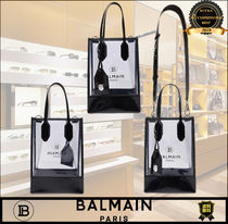 BALMAIN Casual Style 2WAY Crystal Clear Bags PVC Clothing Logo Totes