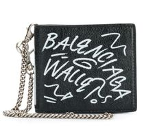 BALENCIAGA Lambskin Chain Folding Wallet Logo Folding Wallets