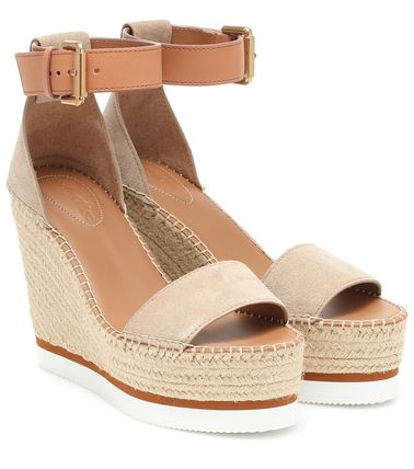 Open Toe Platform Round Toe Rubber Sole Casual Style Suede