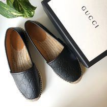 GUCCI Monogram Plain Toe Casual Style Street Style Leather Flats