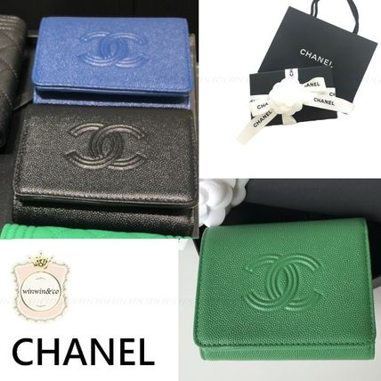 CHANEL Folding Wallet Small Wallet Logo Plain Leather