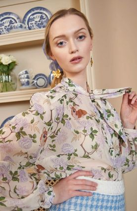 Flower Patterns Casual Style Long Sleeves