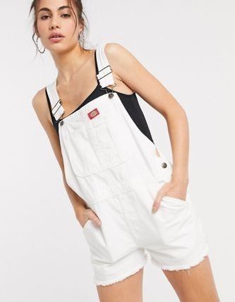 Short Dungarees Casual Style Denim Street Style Cotton Logo