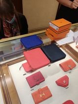 HERMES Silk In Unisex Calfskin Leather Small Wallet Logo Accessories