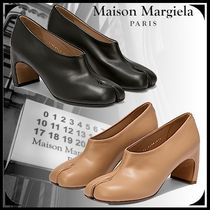 Maison Margiela Tabi Plain Toe Casual Style Street Style Plain Leather