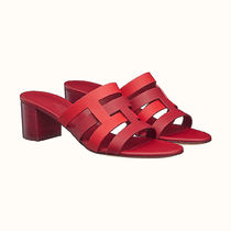 HERMES Casual Style Bi-color Plain Leather Block Heels Party Style