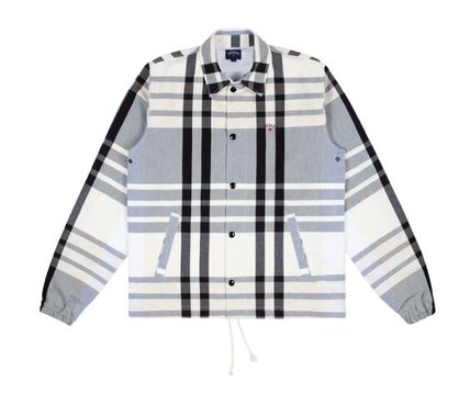 Logo Other Plaid Patterns Unisex Street Style Coach Jackets
