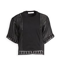 See by Chloe Casual Style Plain Cotton Short Sleeves Lace Elegant Style