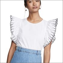 See by Chloe Casual Style Plain Cotton Short Sleeves Lace Puff Sleeves