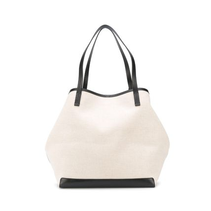 Casual Style A4 Plain Leather Elegant Style Logo Totes
