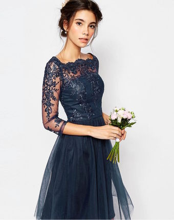 Flower Patterns Flared Boat Neck Cropped Medium Lace Dresses