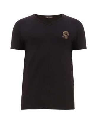VERSACE V-Neck Plain Other Animal Patterns Cotton Short Sleeves Logo