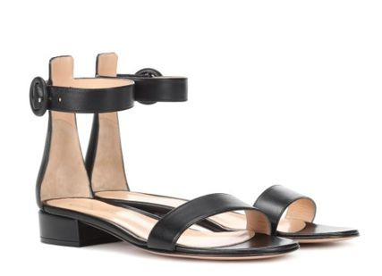 Open Toe Casual Style Plain Leather Elegant Style Sandals