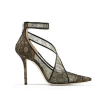 Jimmy Choo Flower Patterns Leather Pin Heels Party Style Elegant Style