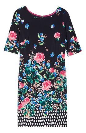 Flower Patterns Boat Neck Plain Medium Party Style