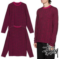STUSSY Crew Neck Street Style Long Sleeves Cotton